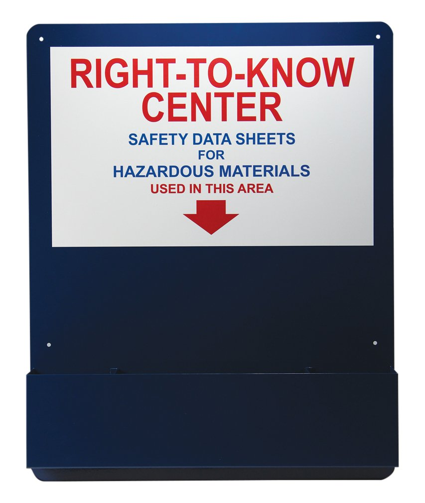 "Accuform ZRS708 RIGHT-TO-KNOW CENTER, 30"" Length x 24"" Width x 0.063"" Thick, Aluminum Pocket Board, Red/Blue/White on Blue"