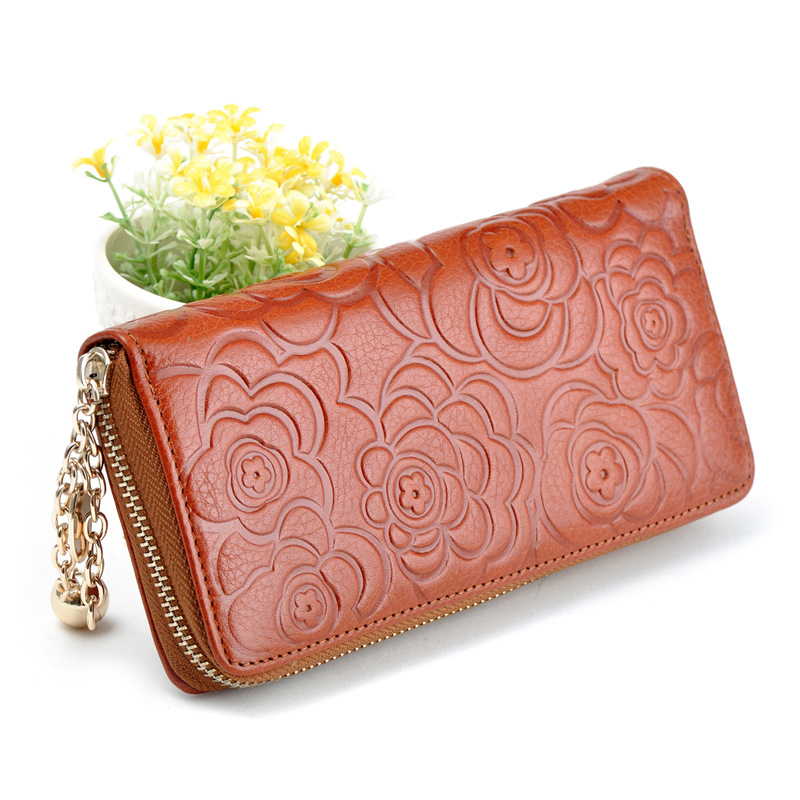 fine women leather rose flower wallet