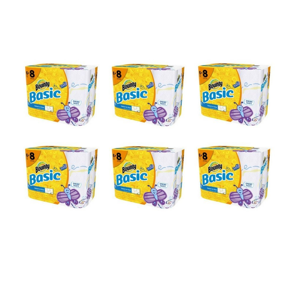 Basic Bounty Basic Select-A-Size Paper Towels, Spring Print, 6 Big Rolls = 8 Regular Rolls - Pack of 6