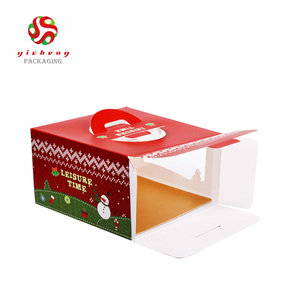 Christmas Cake Boxes With Clear Plastic Window