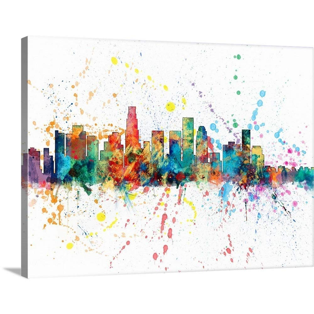 """Gallery-Wrapped Canvas Entitled Los Angeles California Skyline Michael Tompsett 30""""x23"""""""