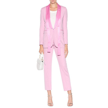 e7f59077ff8 OEM ladies satin lapels with draped ties tuxedo suits slim fit self-tie  collar pink