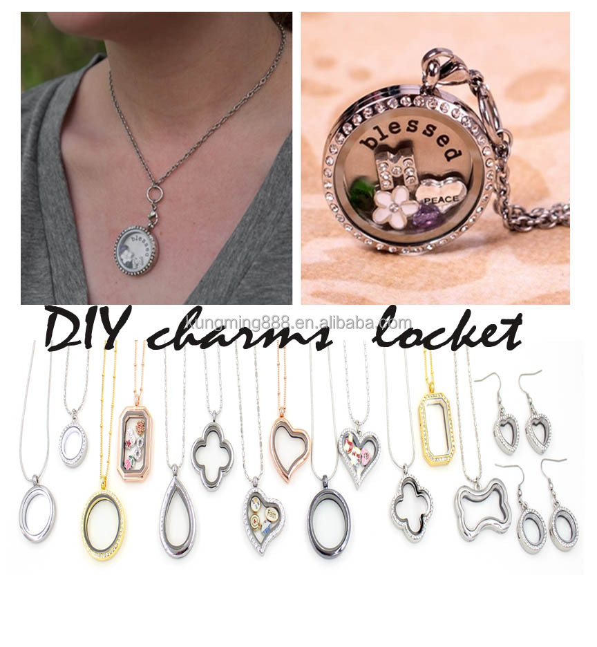 Hot Sale 925 Sterling Sliver Zinc Alloy DIY Glass Mermory Locket Pendant Necklace Wholesale