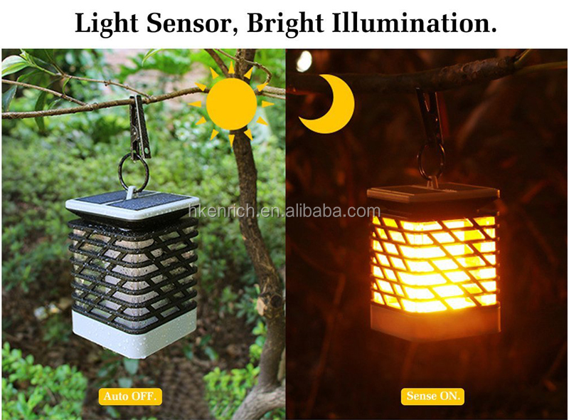 Solar Powered Outdoor Flame Flickering LED Lawn Lamp