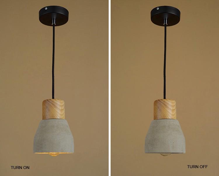 Wood Cement Pendant Light Chandelier Lamp Buy Wood