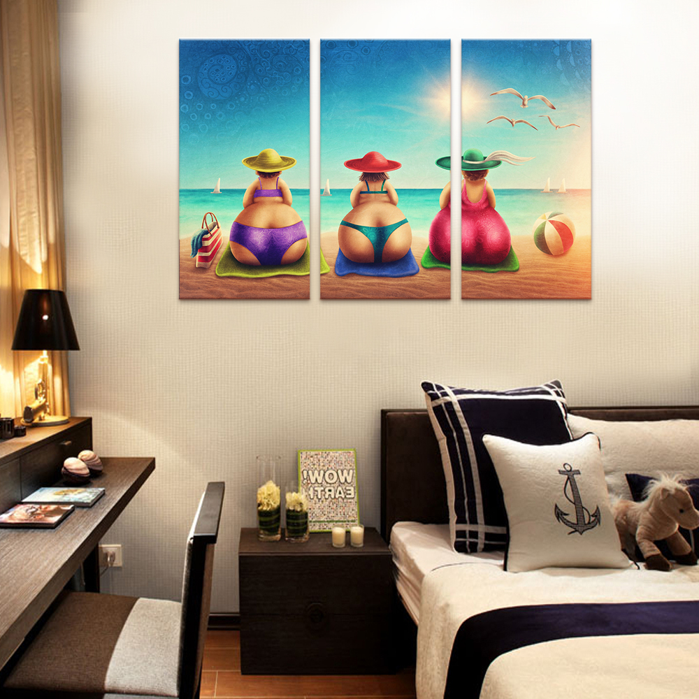 High Quality 3 Pcs Fat Lady On Beach Canvas Art Painting Bikini Woman Holiday Cartoon Wall  Poster For Part 24