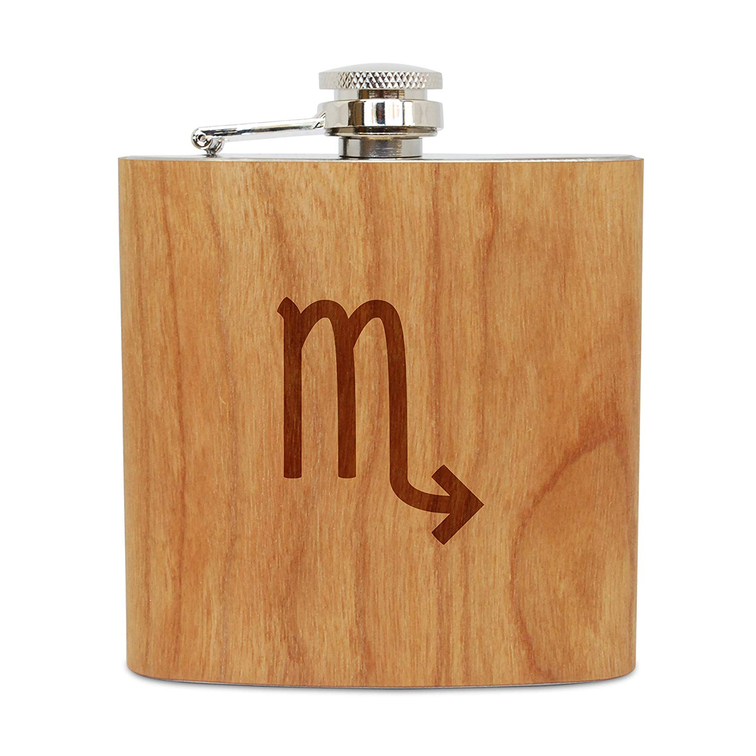 WOODEN ACCESSORIES COMPANY Cherry Wood Flask With Stainless Steel Body - Laser Engraved Flask With Scorpio Design - 6 Oz Wood Hip Flask Handmade In USA