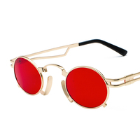 2019 new small oval steampunk sunglasses men round metal frame gold black red mens sun glasses for women unisex uv400