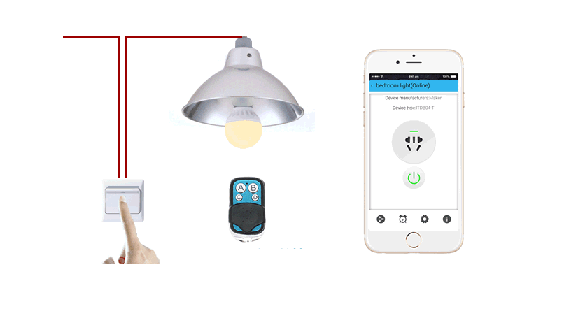 Smart home phone app remote wifi remote timer 433 MHZ wireless switch led bulb lamp holder