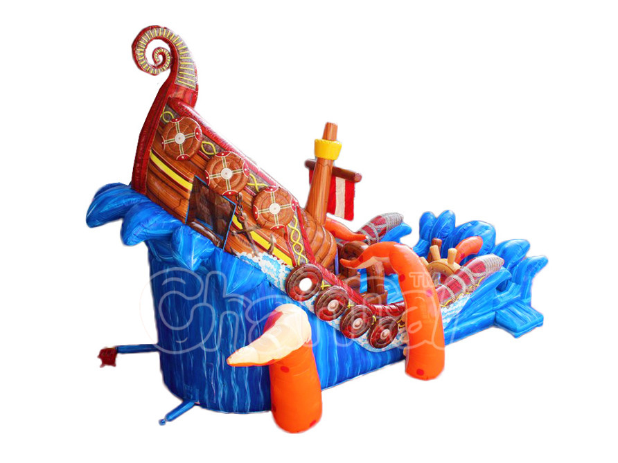 Attractive Conch ship inflatable slide land slide  inflatable slide for adults