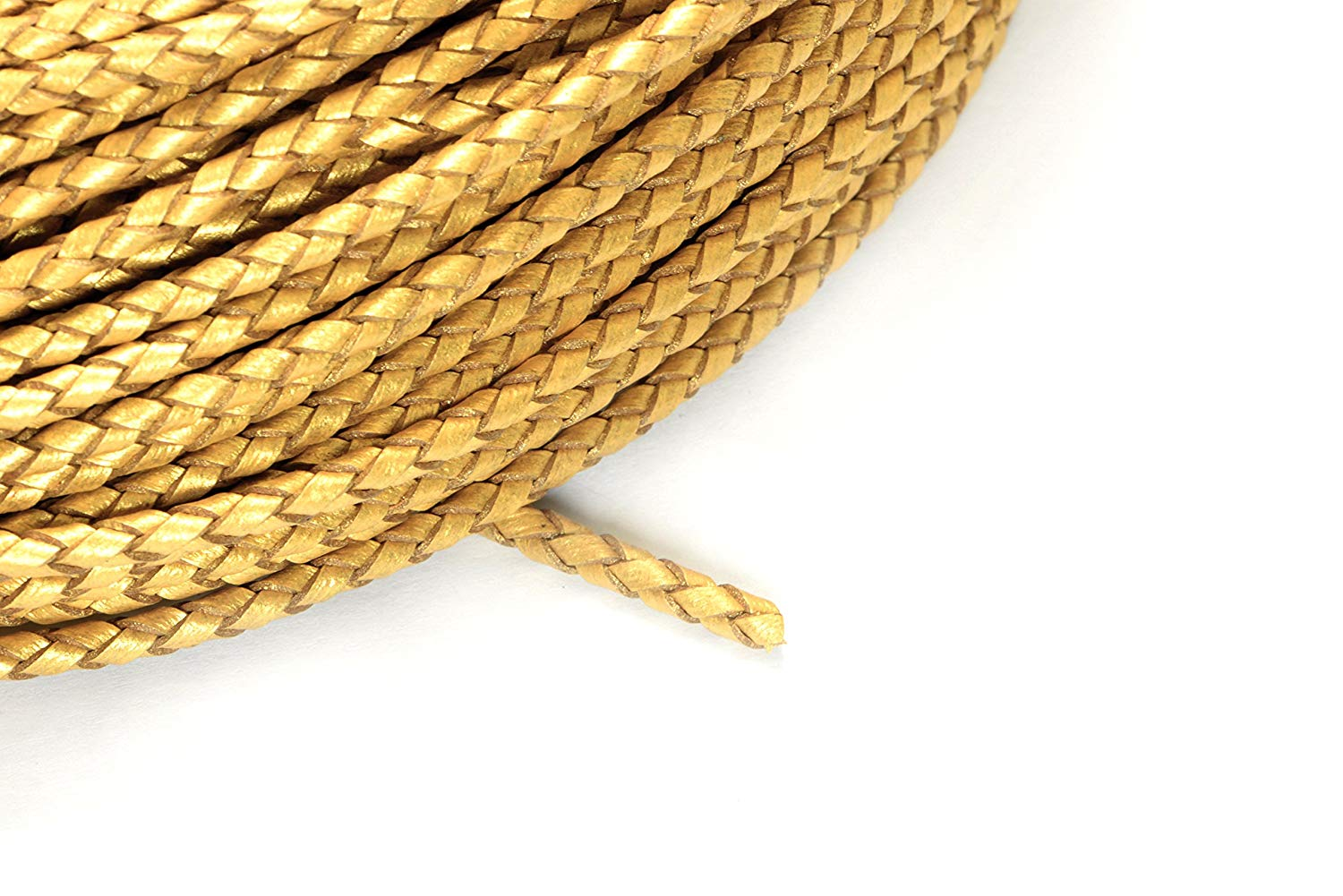 8ft (2.43m) (2.66 yards) 3mm Braided Leather Bolo Cord in Metallic Gold, Round Genuine Leather Cord, Twisted Cord #SD-S7794