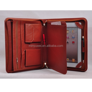 fashion brown business travel portfolios genuine leather expanding wallet folders zip around pad case gift item