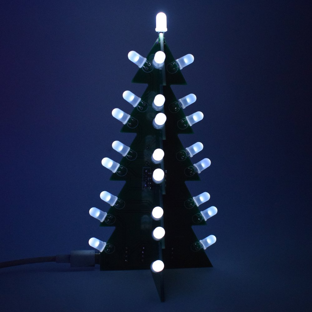 Gabion(TM) DIY Star Flashing Christmas Tree Electronic Learning Kit 3D LED Light Decoration Module Switching Different Effect By One Button [Blue]