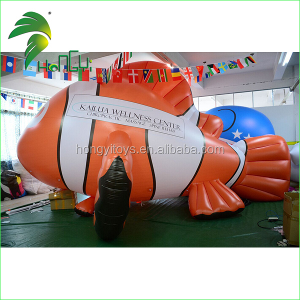 2017 Most Popular Giant Lovely 6.5m Inflatable Helium Fish /PVC Inflatable Flying Goldfish For Advertising