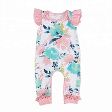 Groothandel <span class=keywords><strong>Kinderen</strong></span> Afdrukken <span class=keywords><strong>Jumpsuit</strong></span> Flutter Pasgeboren Ruffle Romper, Baby Boutique Kleding