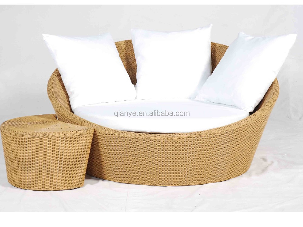 Stainless steel frame oval rattan daybed with fabric cushion ADB-002