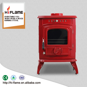 Cheap small european style antique red enamel wood burner cast iron wood-burning stove