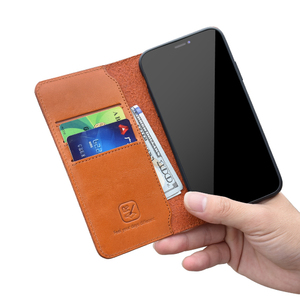 Great texture full grain imported Italian leather wallet card slots phone case for iphone for samsung