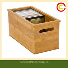 Simple Bamboo Wood CD Storage Box for Home