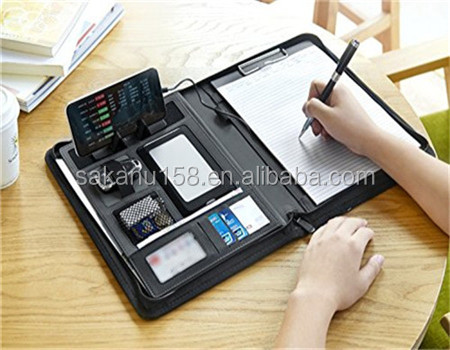 Aangepaste Ritssluiting Lederen Portfolio Padfolio Professionele Business Portfolio Power Bank, Interview Document Organizer