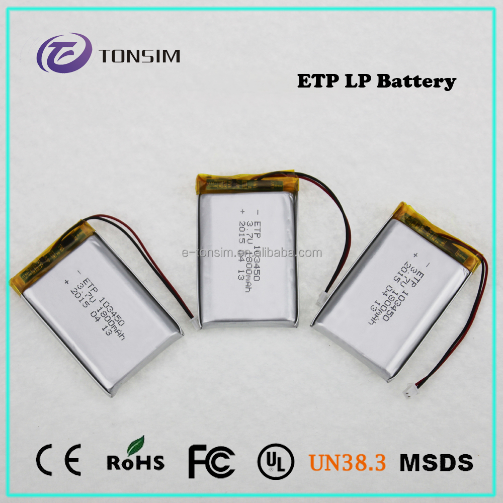 cheap price 3.7V 1800mAh 3.6v li-ion rechargeable battery 103450 for electronic device
