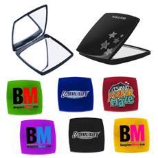 Wholesale antique girls pocket size OEM logo printed square shaped plastic double side magnification 1x 2x makeup folding mirror