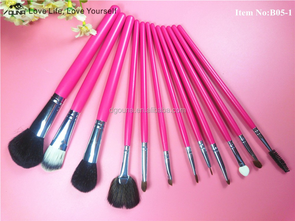 OUNA fashionable 12pcs cosmetic brush kit essential beauty makeup brush with new style fashion bag