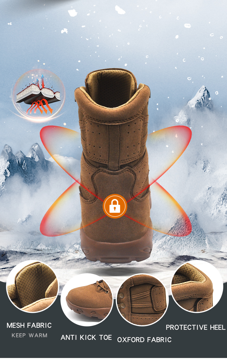 Anti-Slip Wearable Mens Brown Color Boots With EVA Outsole Military Outdoor Shoes
