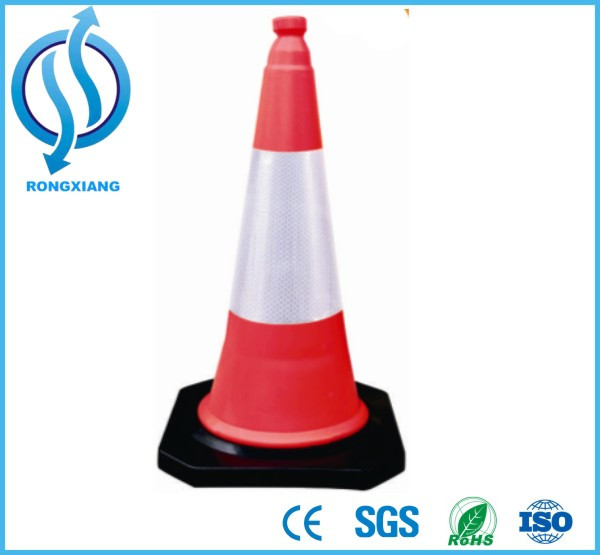 75cm Red and White Reflective 75cm PE Rubber Road Traffic Cones for Sale