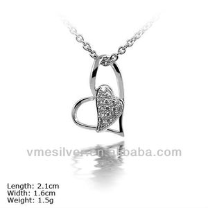 PZU-0937 925 Sterling Silver Heart Pendant With CZ Stone For Lover