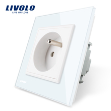 Free Shipping Livolo French Standard Crystal Glass Panel 220~250V 16A Wall Power switch Socket