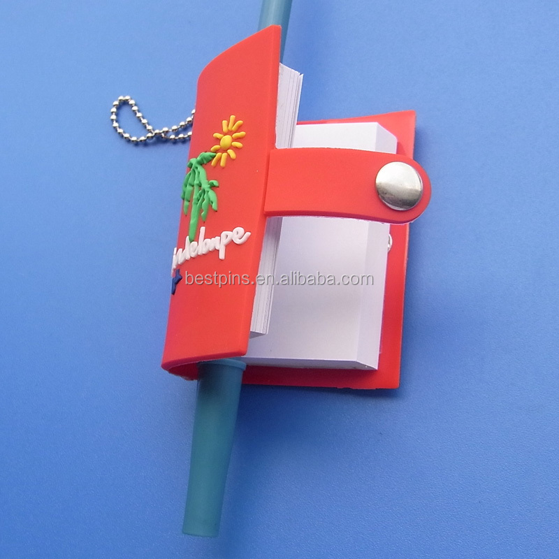 custom made pvc mini notebook with chains on key