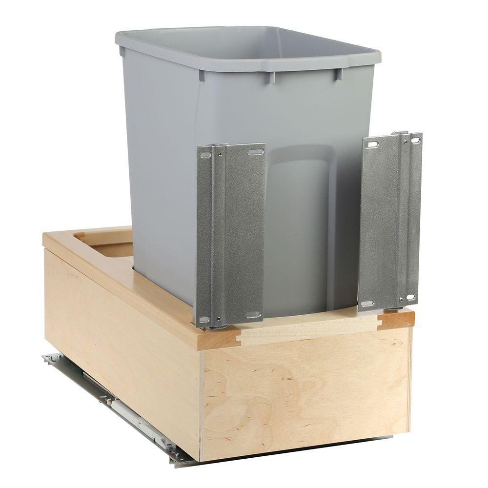 11-1/4 in. x 22-3/8 in. x 19-1/4 in. 35-Qt. Undermount Soft-Close Single Trash Can