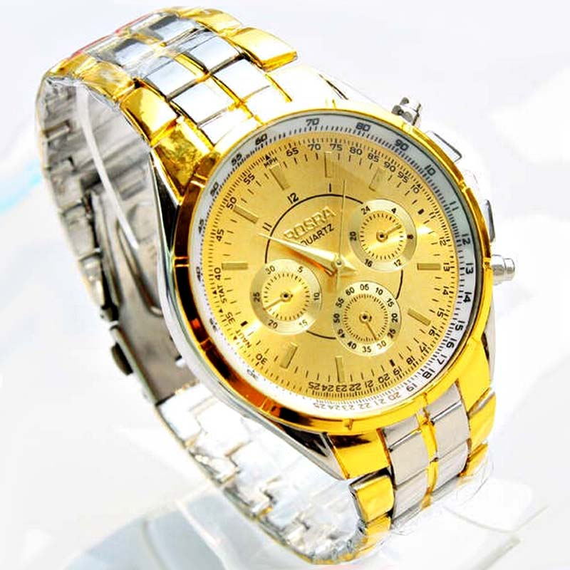 Luxury Brand Rosra 18k Gold Plated Watches Men Gold Full