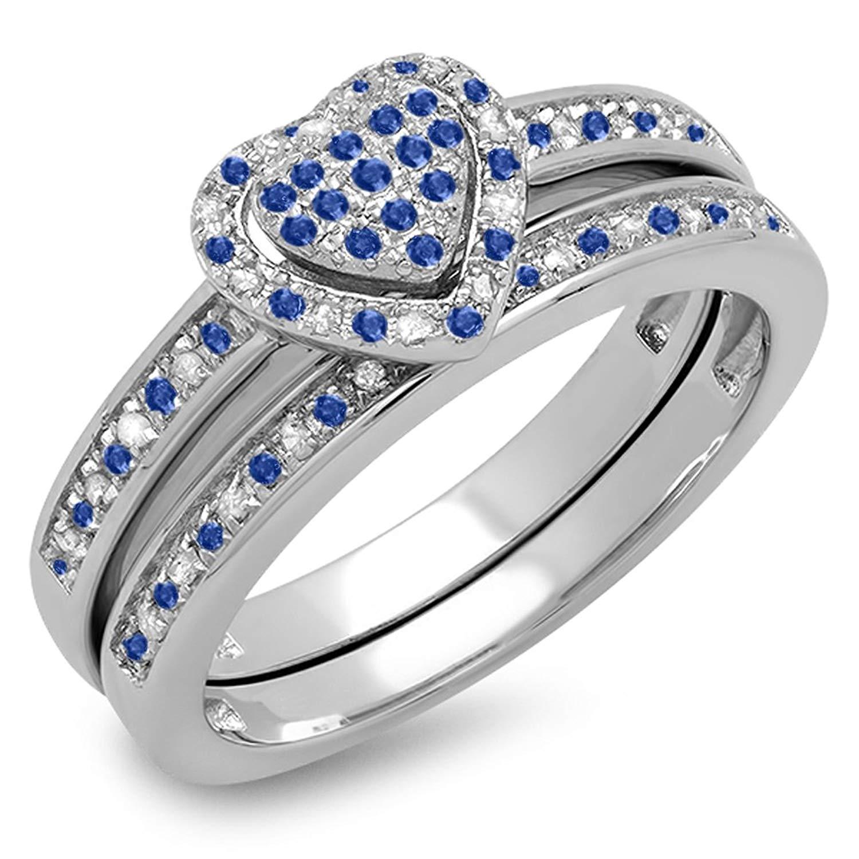 DazzlingRock Collection 14K White Gold Round Blue Sapphire & White Diamond Ladies Heart Shaped Bridal Engagement Ring Set
