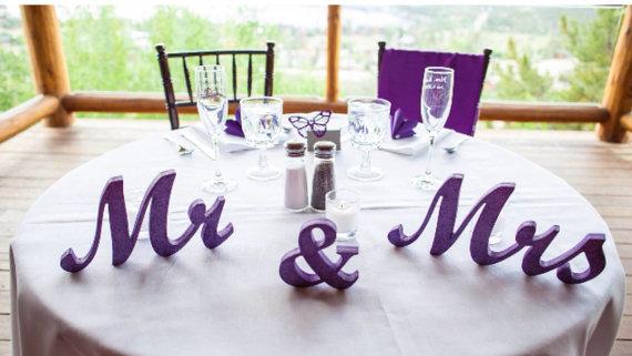 Aliexpress.com : Buy Mr. & Mrs. Purple Glitter Letters