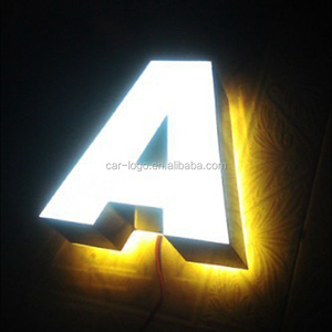 Customized Illumination Backlit Stainless steel letter sign , High Building Tower Letter Sign
