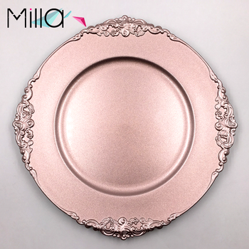 Plastic Rose Gold Charger Plates with Antique Design for Rentals