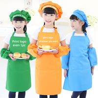 Children child Kids Apron Sleeves Hat Set Big Kitchen Baking Painting Cooking Craft Art Bib Apron 9 Colors Print Logo