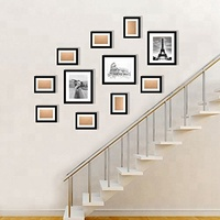 Multiple wall mounted solid wood black photo frame