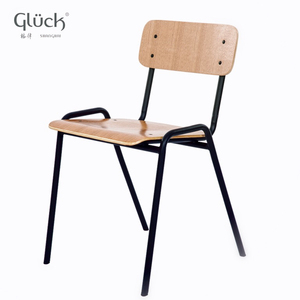 2018 Modern Timber Plywood Dining Chair Bistro Metal Frame Chair