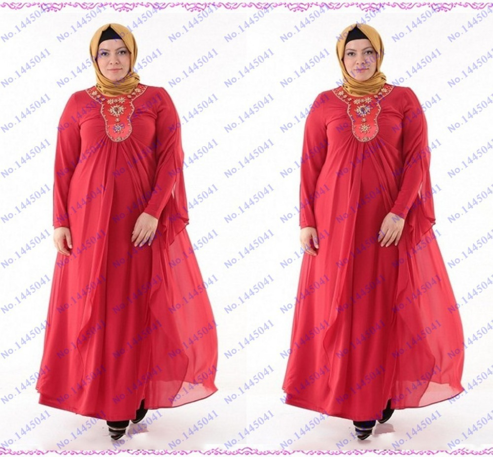 22bfdc7bc7d4 Get Quotations · red abaya dubai kaftan arabic style long sleeve musilim  plus size mother of the bride dress