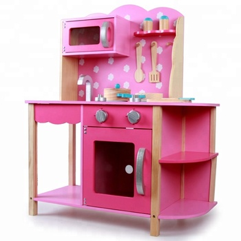2019 wholesale Children Educational wooden toys kitchen set wooden Kitchen toys play set for the girls WKT007