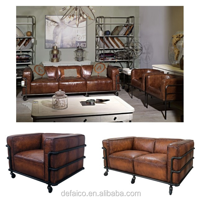 Loft Style Water Pipe Frame Living Room Leather Sofa Sets