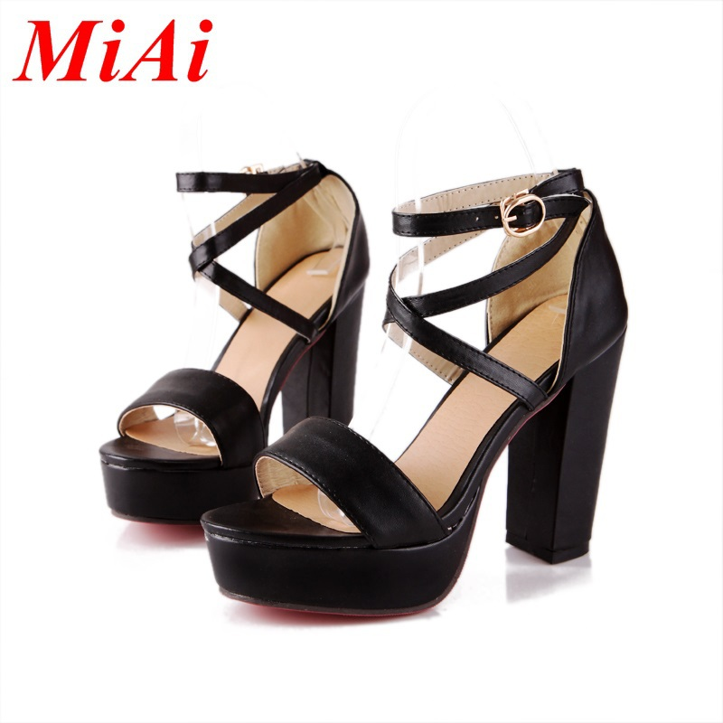 b3fb7b0c0a50d Get Quotations · new fashion women sandals sexy peep toe buckle party shoes  woman high heels sandals big size