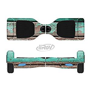 The Chipped Teal Paint On Wood Full-Body Wrap Skin Kit for the iiRov HoverBoards and other Scooter (HOVERBOARD NOT INCLUDED)