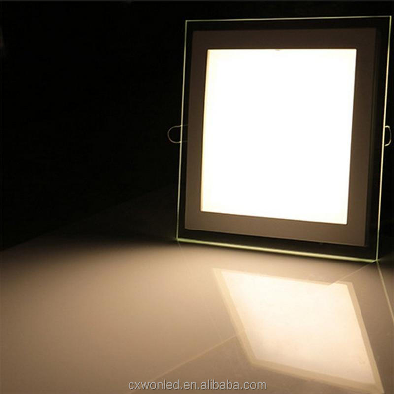 Round Square Slim led glass panel light office kitchen living room bathroom glass wall panel