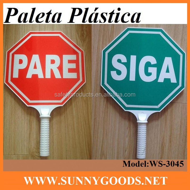 plastic road safety hand held stop plastic traffic sign