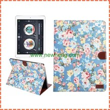flower design wallet flip PU Leather Tablet Covers Case for iPad Pro