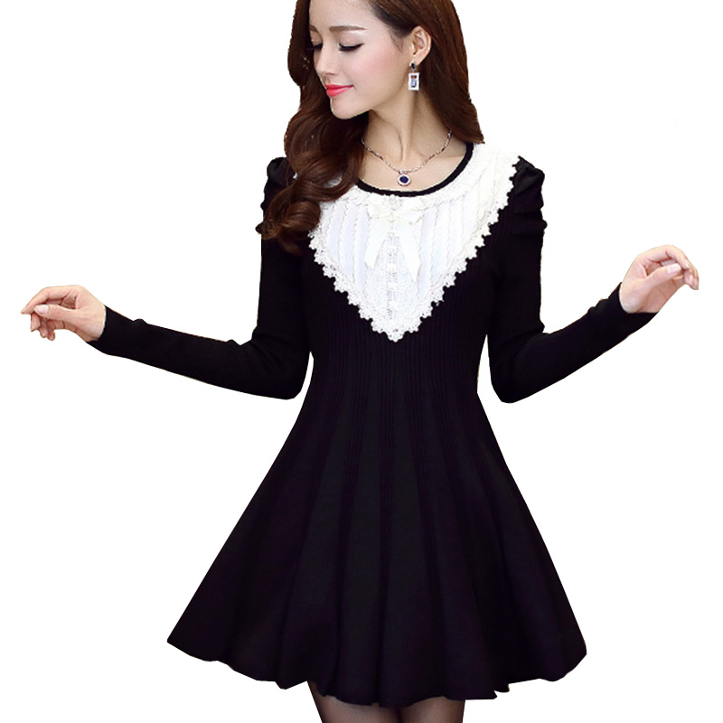 3d732149226 Get Quotations · Black Dress With White Collar 2015 Imported-Clothing Autumn  Winter Dresses Korean Kawaii Lolita Patchwork